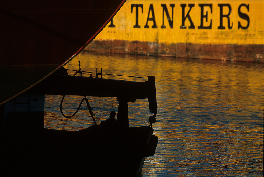 Close-up detail of oil tanker.