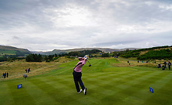 Auchterarder, Scotland, UK. 14 September 2019. Saturday morning Foresomes matches  at 2019 Solheim Cup on Centenary Course at Gleneagles. Pictured; Carlota Ciganda of Team Europe drives on the 2nd hole.Iain Masterton/Alamy Live News