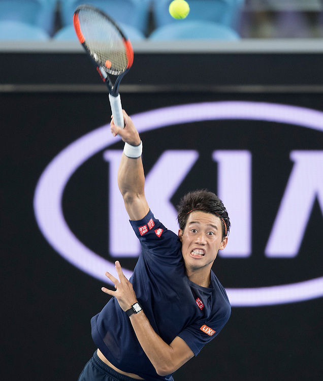 Kei Nishikori of Japan during a practice session ahead of the 2017 Australian Open at Melbourne Park on January 13, 2017 in Melbourne, Australia.<br /> (Ben Solomon/Tennis Australia)
