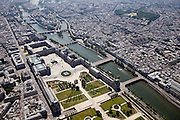 The Louvre Museum with the Tuileries Gardens in front and the French Senate building off to the right of the Seine River.