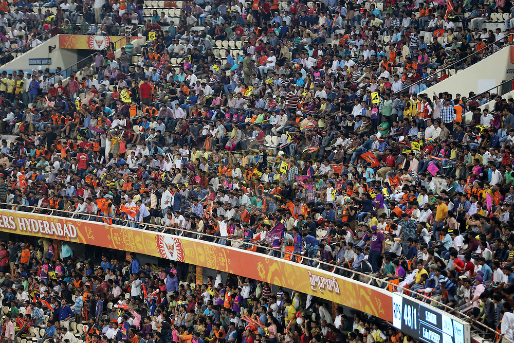 Sunrisers Hyderabad and Raising Pune Supergiants supporters   during match 22 of the Vivo IPL 2016 (Indian Premier League ) between the Sunrisers Hyderabad and the Rising Pune Supergiants held at the Rajiv Gandhi Intl. Cricket Stadium, Hyderabad on the 26th April 2016<br /> <br /> Photo by Faheem Hussain / IPL/ SPORTZPICS