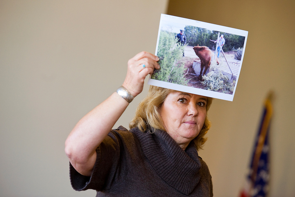 101011       Brian Leddy.Cosy Balok holds up a photo of a horse stuck in a cattle guard during a meeting on Monday morning. Several area agencies met to try to untangle the jurisdictional issues that city, county, state and tribal entities face when dealing with animal control issues.