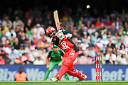 17th February 2019, Marvel Stadium, Melbourne, Australia; Australian Big Bash Cricket League Final, Melbourne Renegades versus Melbourne Stars; Tom Cooper of the Melbourne Renegades hits a boundary