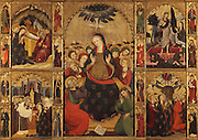 Pentecost, with the descent of the holy spirit to the Virgin and disciples, from the Retaule de l'Esperit Sant (Retablo del Espiritu Santo), or Altarpiece of the Holy Spirit, 1394, by Pere Serra, a Catalan artist, with 22 scenes and 36 figures of saints, in the Colegiata Basilica de Santa Maria, or Collegiate Basilica of Santa Maria, also known as La Seu, built in Gothic style by Berenguer de Montagut, from 1328 until 1486, around an existing 11th century Romanesque church, Manresa, Catalonia, Spain. On the left are the Nativity and the Presentation in the Temple, and on the right are the Resurrection and the Ascension of Jesus, with saints in between the panels. The altarpiece was commissioned by the Guild of Tanners and contains scenes of the Holy Spirit and Life of Christ, with a predella originally from a different altarpiece (dedicate to St Anthony and disappeared), with the Lamentation, 1410, by Lluis Borrassa. Picture by Manuel Cohen