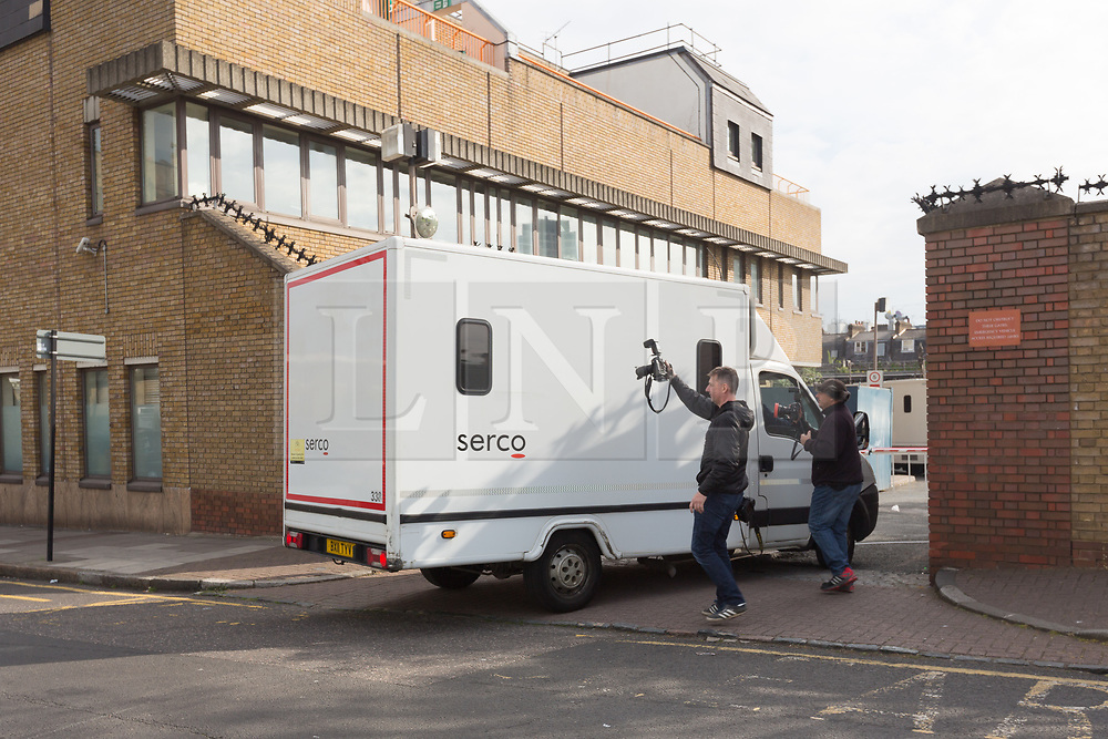 © Licensed to London News Pictures. 24/04/2017. LONDON, UK.  A prison van arriving at Thames Magistrates Court in London this morning. Arthur Collins, 24, the boyfriend of reality TV star, Ferne McCann and Andre Phoenix, 21 appeared at Thames Magistrates Court today, charged with offences in connection with an acid attack at Mangle nightclub in Dalston, Hackney on 17th April which left a man and a woman each blind in one eye. Both were remanded in custody. Photo credit: Vickie Flores/LNP