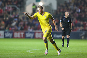 Chris Wood celebrates scoring Leeds 2nd goal during the Sky Bet Championship match between Bristol City and Leeds United at Ashton Gate, Bristol, England on 19 August 2015. Photo by Shane Healey.