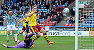 Sam Vokes of Burnley scores the 2nd goal during the Sky Bet Championship match at the John Smiths Stadium, Huddersfield<br /> Picture by Graham Crowther/Focus Images Ltd +44 7763 140036<br /> 12/03/2016