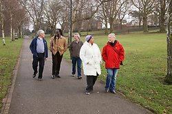 Group of people walking in a park and chatting. Cleared for Mental Health issues.