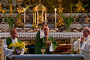Riccardo Casagrande, a monk brother priest, leads a morning mass at the San Marcello al Corso Church in Rome, Italy, near the Spanish Steps. Casagrande is in charge of the kitchen, garden, and wine cellar for the brotherhood. (Riccardo Casagrande is featured in the book What I Eat: Around the World in 80 Diets.)