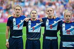 COVENTRY, ENGLAND - Friday, August 3, 2012: Great Britain's Ellen White, Karen Carney, Sophie Bradley and Kim Little line-up for the national anthem before the Women's Football Quarter-Final match between Great Britain and Canada, on Day 7 of the London 2012 Olympic Games at the Rioch Arena. Canada won 2-0. (Photo by David Rawcliffe/Propaganda)