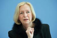 21 FEB 2013, BERLIN/GERMANY:<br /> Johanna Wanka, CDU, Bundesministerin fuer Bildung und Forschung, wahrend einer Pressekonferenz, Bundespressekonferenz<br /> IMAGE: 20130221-01-016