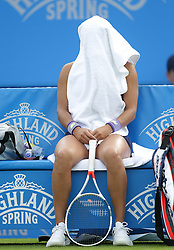 Heather Watson of Great Britain covers herself with a towel  between games - Mandatory by-line: Paul Terry/JMP - 20/06/2016 - TENNIS - Devonshire Park - Eastbourne, United Kingdom - Heather Watson v Elena Vesnina - Aegon International Eastbourne