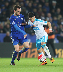 Christian Fuchs of Leicester City (L) and Ayoze Perez of Newcastle United in action - Mandatory byline: Jack Phillips/JMP - 14/03/2016 - FOOTBALL - King Power Stadium - Leicester, England - Leicester City v Newcastle United - Barclays Premier League
