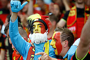 Belgium fans celebrate their win during the Euro 2016 match between Sweden and Belgium at Stade de Nice, Nice, France on 22 June 2016. Photo by Andy Walter.