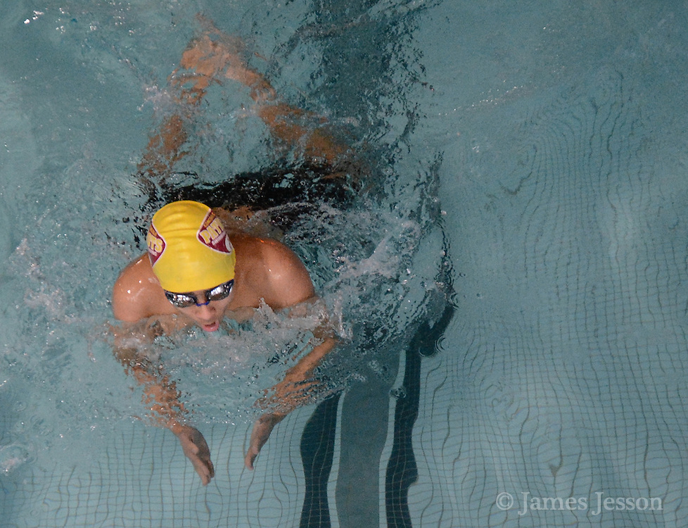Concord-Carlisle freshman Aryaman Joshi swims breastroke in the 200 yard IM during the DCL meet at Atkinson Pool in Sudbury, Jan. 31, 2015.   (Wicked Local Photo/James Jesson)