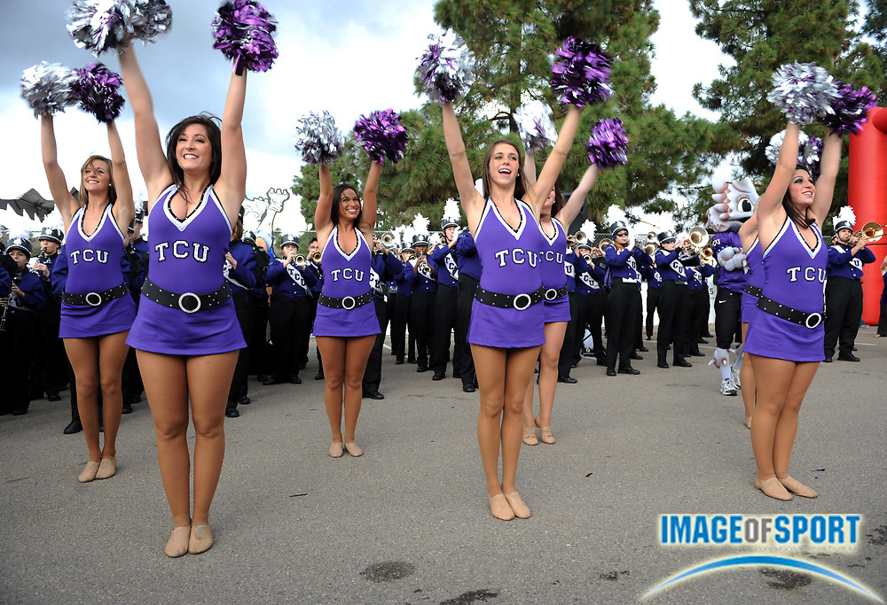 Dec 23, 2008; San Diego, CA, USA; Texas Christian Horned Frogs cheerleaders perform during tailgate festivities before the game against the Boise State Broncos in the Poinsettia Bowl at Qualcomm Stadium.