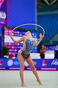 Taseva Katrin during the qualification of hoop at the Pesaro World Cup 2018. Katrin is a Bulgarian gymnast born in Samokov on November 24, 1997. She is a member of the Bulgarian National team since 2010.