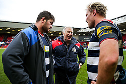 Assistant coach Alan Solomons talks to Marc Jones and Jordan Crane (c) of Bristol Rugby after Bristol Rugby win 12-11 - Rogan Thomson/JMP - 26/02/2017 - RUGBY UNION - Ashton Gate Stadium - Bristol, England - Bristol Rugby v Bath - Aviva Premiership.