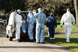 © Licensed to London News Pictures. 09/02/2016. London, UK. Police forensic officers near Kensington Palace in west London. A man set himself on fire and died after burning to death in the early hours of this morning near Kensington Palace. Photo credit : Vickie Flores/LNP