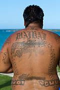 Oahu. Kailua Bay. Traditional Hawaiian family tattoo.