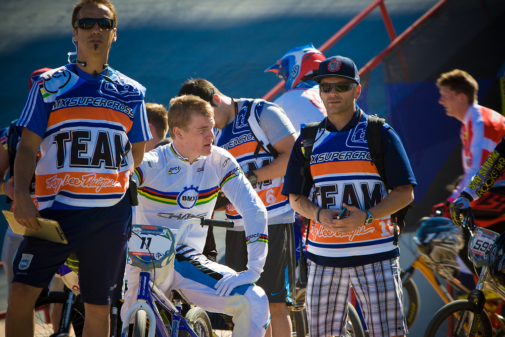 # 11 (FIELDS Connor) USA has a word with his coach during the mens A practice at the UCI BMX Supercross World Cup in Santiago del Estero, Argintina.