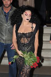 Singer Lady Gaga wearing a black lace dress leaving The Langham Hotel in London, UK. 22/10/2014<br />BYLINE MUST READ : GOTCHAIMAGES.COM<br /><br />Copyright by © Gotcha Images Ltd. All rights reserved.<br />Usage of this image is conditional upon the acceptance <br />of Gotcha Images Ltd, terms and conditions available at<br />www.gotchaimages.com