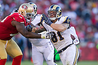 11 November 2012: Defensive end (91) Chris Long of the St. Louis Rams in game action against the San Francisco 49ers during the second half of a 24-24 tie between the 49ers and the Rams in an NFL football game at Candlestick Park in San Francisco, CA.