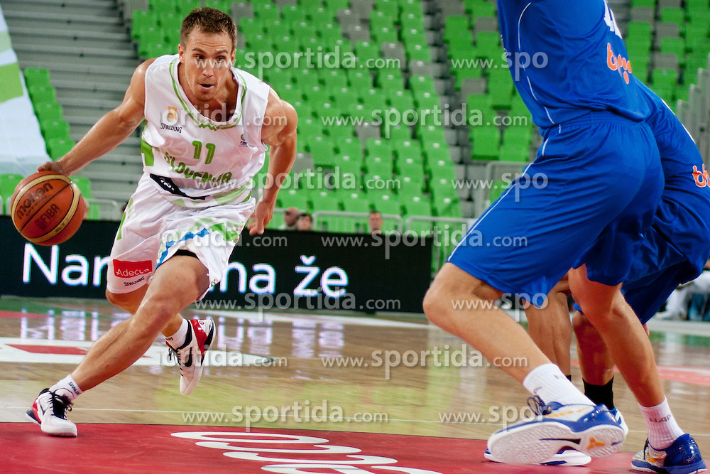 Ziga Zagorc of Slovenia during friendly basketball match between National teams of Slovenia and Bosnia i Hercegovina of Adecco Ex-Yu Cup 2012 as part of exhibition games 2012, on August 3rd, 2012, in Arena Stozice, Ljubljana, Slovenia. (Photo by Urban Urbanc / Sportida)