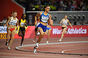 Sydney McLaughlin runs the second leg on the United States women's 4 x 400m relay that won in 3:18.92 during the IAAF World Athletics Championships, Sunday, Oct.. 6, 2019, in Doha, Qatar. (Jiro Mochizuki/Image of Sport)