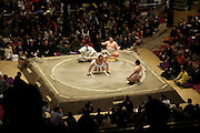 Mongolian grand sumo champion Yokozuna, Asashoryu performs the 'ring entering ceremony' Tokyo