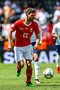 Switzerland defender Fabian Schar (22) during the UEFA Nations League 3rd place play-off match between Switzerland and England at Estadio D. Afonso Henriques, Guimaraes, Portugal on 9 June 2019.