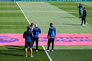 Watford players inspect the pitch, ahead of the Premier League match between Swansea City and Watford at the Liberty Stadium, Swansea, Wales on 23 September 2017. Photo by Andrew Lewis.