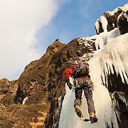 Andri Bjarnason climbing 55° Búahamrar, Reykjavík, Iceland.