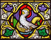 Church of Saint Edmund, Bromeswell, Suffolk, England, UK stained glass window the eagle of Saint John