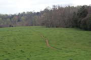 A path through one of the fields on the grounds at Ash Lawn Highland, home of President James Monroe.