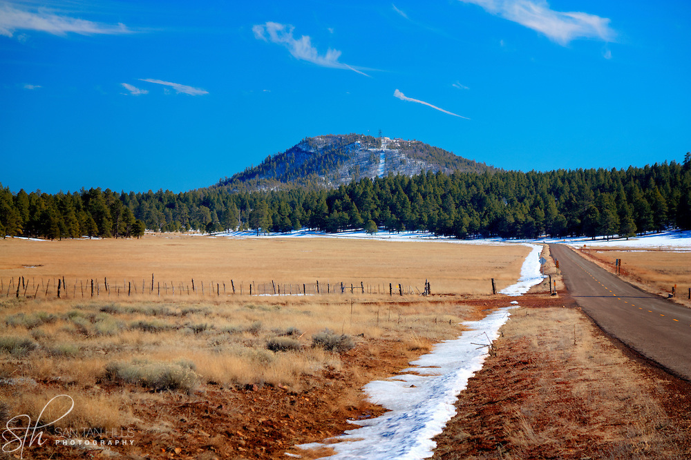 Distant hills surrounded by pines - outside Williams, AZ