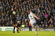 Dougie Fife has his kick charged down by Scott Cummings during the Guinness Pro 14 2017_18 match between Edinburgh Rugby and Glasgow Warriors at Myreside Stadium, Edinburgh, Scotland on 28 April 2018. Picture by Kevin Murray.