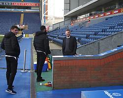 Wigan Athletic manager Warren Joyce (R) with protective strapping on his eye before the match - Mandatory by-line: Jack Phillips/JMP - 04/03/2017 - FOOTBALL - Ewood Park - Blackburn, England - Blackburn Rovers v Wigan Athletic - Football League Championship