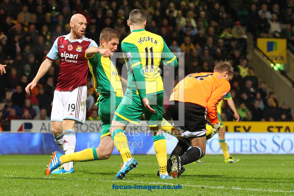 Picture by Paul Chesterton/Focus Images Ltd +44 7904 640267<br /> 09/11/2013<br /> Jussi Jaaskelainen of West Ham fumbles a cross and in the process of trying to recover it fouls Gary Hooper of Norwich and concedes a penalty kick that leads to an equaliser for Norwich during the Barclays Premier League match at Carrow Road, Norwich.