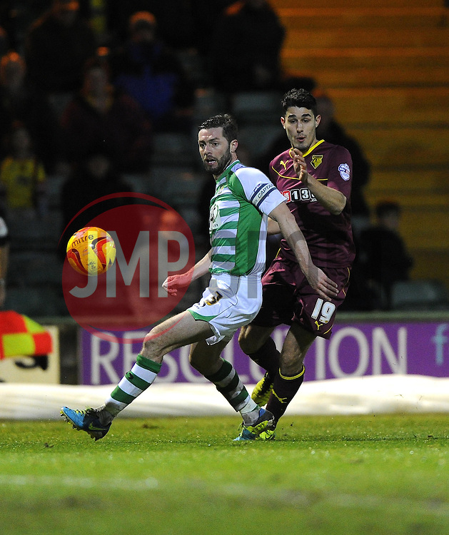 Watford's Marco Davide Faraoni appeals for a hand ball as it appears to strike Yeovil Town's Jamie McAllister by the hand in the penalty area - Photo mandatory by-line: Joe Meredith/JMP - Tel: Mobile: 07966 386802 18/02/2014 - SPORT - FOOTBALL - Yeovil - Huish Park - Yeovil Town v Watford - Sky Bet Championship