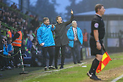 Forest Green Rovers manager, Mark Cooper shouts instructions during the Vanarama National League match between Forest Green Rovers and Dover Athletic at the New Lawn, Forest Green, United Kingdom on 17 December 2016. Photo by Shane Healey.