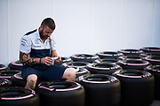 October 19-22, 2017: United States Grand Prix. Williams mechanic with Pirelli dry tires