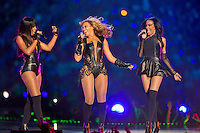 3 February 2013: Beyonce performs with Destiny's Child during halftime of the Baltimore Ravens 34-31 victory over the San Francisco 49ers in Superbowl XLVII at the Mercedes-Benz Superdome in New Orleans, LA.