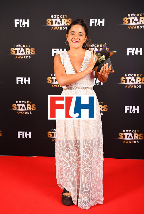 BERLIN, GERMANY - FEBRUARY 05:  Maria Granatto  of Argentina holds her rising star award during the Hockey Star Awards night at Stilwerk on February 5, 2018 in Berlin, Germany.  (Photo by Stuart Franklin/Getty Images For FIH)