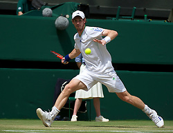 LONDON, ENGLAND - Monday, June 27, 2011: Andy Murray (GBR) in action during the Gentlemen's Singles 4th Round match on day seven of the Wimbledon Lawn Tennis Championships at the All England Lawn Tennis and Croquet Club. (Pic by David Rawcliffe/Propaganda)