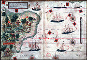 Map of Brazil by Pedro Reinel and Lopo Homen c1525.
