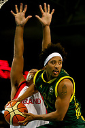 22/03/2006 COMMGAMESSPORT: Melbourne 2006 Commonwealth Games. Mens Basketball. Semi Final,  Australia vs England. CJ Bruton looks to pass the ball.