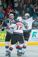 KELOWNA, CANADA - MAY 13: Rourke Chartier #14, Nick Merkley #10 and Leon Draisaitl #29 of Kelowna Rockets celebrate the WHL Championship against the Brandon Wheat Kings on May 13, 2015 during game 4 of the WHL final series at Prospera Place in Kelowna, British Columbia, Canada.  (Photo by Marissa Baecker/Shoot the Breeze)  *** Local Caption *** Leon Draisaitl; Rourke Chartier; Nick Merkley;