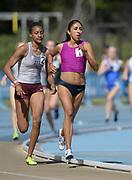 Apr 14, 2018; Los Angeles, CA, USA; Ana Cristina Narvaez and Sammy Watson of Texas A&M lead the women's 1,500m during the Rafer Johnson/Jackie joyner-Kersee Invitational at Drake Stadium.