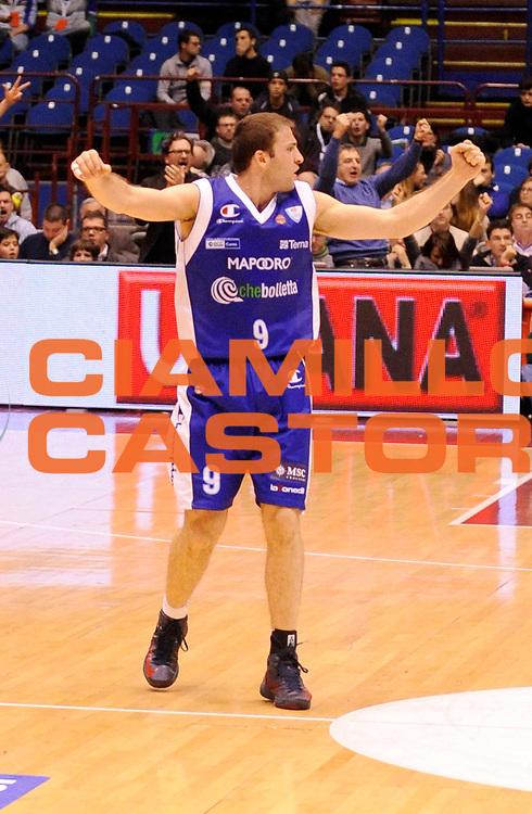 DESCRIZIONE : Milano Lega A 2012-13 EA7 Olimpia Armani Milano CheBolletta Cantu' <br /> GIOCATORE : Markoishvili<br /> SQUADRA : CheBolletta Cantu'<br /> EVENTO : Campionato Lega A 2012-2013<br /> GARA :  EA7 Olimpia Armani Milano CheBolletta Cantu'<br /> DATA : 06/01/2013<br /> CATEGORIA : Esultanza<br /> SPORT : Pallacanestro<br /> AUTORE : Agenzia Ciamillo-Castoria/A.Giberti<br /> Galleria : Lega Basket A 2012-2013<br /> Fotonotizia : Milano Lega A 2012-13 EA7 Olimpia Armani Milano CheBolletta Cantu'<br /> Predefinita :